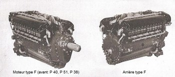 Moteur type F (avant) et type E (avant).